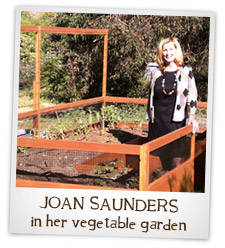 Joan Saunders in her vegetable garden.